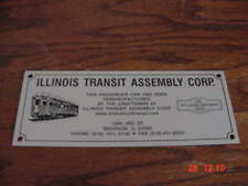 Illinois Transit Assembly Builders Plate Private Car