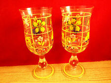 CLEAR GLASS HAND PAINTED FLOWERS BOTANICAL DESIGN GOBLET WINE GLASSES 2 pcs M8