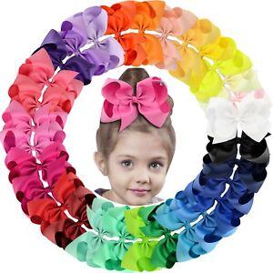 "30pcs 6"" Big Grosgrain Ribbon Hair Bow Clips for Baby Girls toddler Kids Infants"