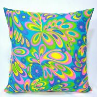 """Psychedelic Mod Hippie Boho 16x16"""" Zipper Throw Pillow from Vtg 60s 70s Fabric"""