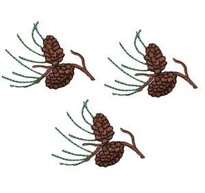 "Mini Pine Needles Applique Patch - Pine Cones Badge 2"" (3-Pack, Iron on)"