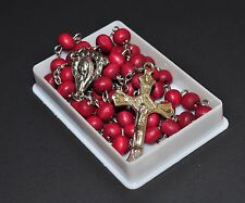 Catholic Rosary Necklace Madonna Center Wood Beads cross Scented Rosarie Rosario