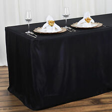 """4 ft BLACK Fitted 48x24x30"""" Polyester TABLECLOTH Wedding Catering Party Linens"""