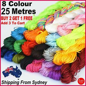 8 Colour Elastic Stretchy Beading Thread Cord String Necklace Jewellery 25 Metre