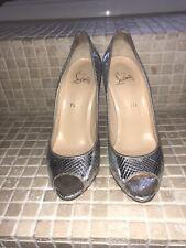 christian louboutin  Lady Peep python snakeskin silver metallic shoes