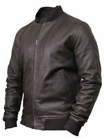 Men's Varsity Lamb Leather Biker Jacket Distressed Slim Fit Bomber Jacket Latest