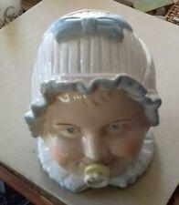A PORCELAIN BABY HEAD TOBACCO JAR WITH LID, BON-BON, COTTON WOOL ETC.