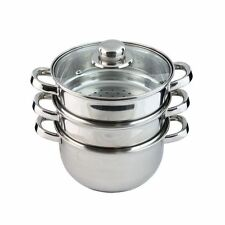 3 Tier Stainless Steel Steam Cooker Steamer Pan Cook Pot Set 3pc glass lid veg