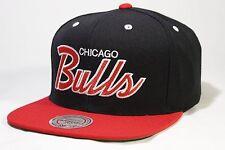 Chicago Bulls Mitchell & Ness Team Script Vintage HWC Snapback Hat Cap Black NBA