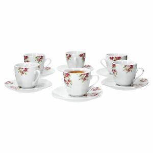 12-tlg. Espressotassenset Rosentraum festlich Porzellan Geschirr mit Unterteller