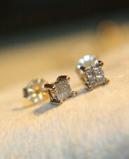 Ross Simons 14k Yellow & White Gold princess Quad Diamond stud earrings $450
