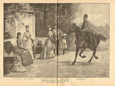 Kaiser Franz Joseph I And His Family, Vintage, 1888 German Antique Art Print