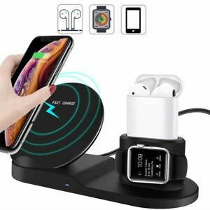 3 in 1 Fast Wireless Charging Station Stand Charger iWatch+ iPhone+Airpods & Pro