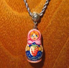 Matryoshka Pendant Girl & Strawberry Red Blue Nesting Russian Doll hand painted