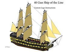 40 Gun Ship of the Line Custom Lego Pirate Imperial Armada (Instructions Only)