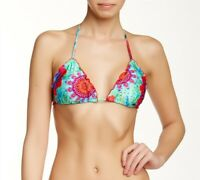 Luli Fama Womens Beach Fever Crystallized Triangle Bikini Top Swimwear Size XS