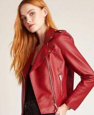 BB Dakota Revolve Red Faux Leather Moto Jacket M