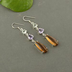 925 Sterling silver Conic Quartz and Amethyst stone Earring Jewelry for gift