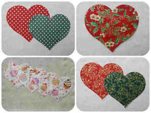 FABRIC Large HEARTS Die Cuts Christmas Appliqués 100% Cotton Quilting Hand Sew