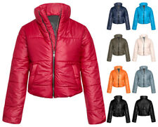 Womens Wet Look Cropped Jackets Coat Ladies Padded Bomber Bubble Puffer Short UK
