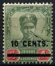 Malaysian State Jahore 1904 SG#59, 10c On 4c Green And Carmine Used #D46112