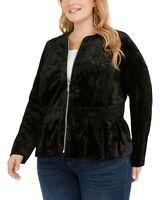 INC International Concepts Women's Plus Size Velvet Peplum Jacket  Black Size