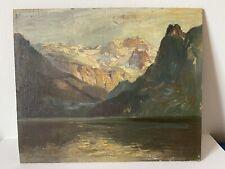 Paysage de Montagne (Königsee Bavière) Huile Sur Panneau Signé