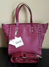 Sorial BELLE Wine Burgundy Silver Studded Leather Handbag Crossbody Purse