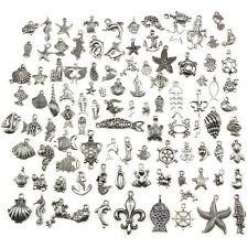 Retro Silver 100pcs Bulk Lots Mix Ocean Charm Pendants Jewelry DIY  BH