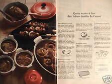 PUBLICITÉ 1970 LE CREUSET 4 RECETTES A FAIRE DANS LA FONTE ÉMAILLÉ - ADVERTISING