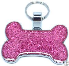 PET TAG PINK GLITTER  Stylish Bling  ( Dog & Cat Tag ) Bone Pink