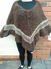 Hand Crocheted Poncho. Brown tones.