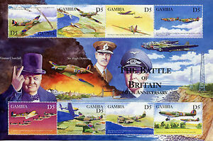 Gambia Aviation Stamps 2000 MNH WWII WW2 Battle of Britain Churchill 8v M/S I