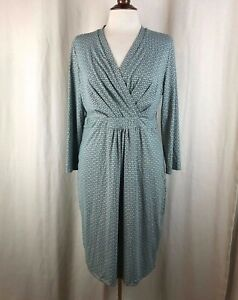 Ellie Kai Gray & Mint Green Geometric Print Surplice Dress Size 12