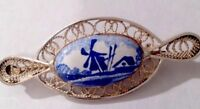 VINTAGE SILVER FILIGREE & ENAMEL DUTCH DELFT STYLE BROOCH Gift Boxed