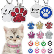 Personalized Dog Cat Tags Free Engraved Name Puppy Kitten Pet Number Paw Glitter