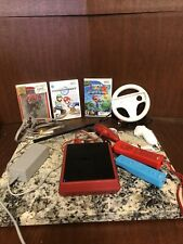 Red Nintendo Wii with cords, sensor bar, Controllers And Games Clean Working