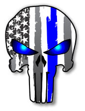 Punisher Skull Police Blue Line US Flag Vinyl Decal American Flag Window Sticker