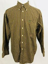 Tommy Hilfiger Mens Vintage Shirt Sz Large Button Front Ls Yellow Plaid Crest (Y
