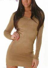 Sexy Damen Pullover Trendy Long V Ausschnitt Pulli Strick 34/36/38 braun Top Neu