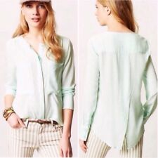 Anthropologie Maeve Sz 0 Clara Mint Green Blouse Top Split Back Hidden Button