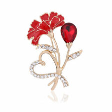 Women Diamante Red Drop Crystal Brooch Heart Carnation Flower Pin Broach Gift