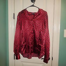 Gorgeous, Gorgeous Blouse-Red & Black-Long Sleeves-Size XXL-Two Extra Buttons