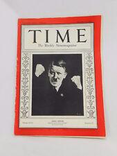 Vtg Adolf Hitler TIME Magazine 1931 1st Cover, Germany, WWII