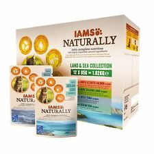 IAMS Naturally Complete Land & Sea Collection Adult Cat Food Pouches 12 x 85g