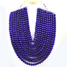 1810.00 Cts Natural 10 Line Purple Amethyst Round Shape Beads Necklace NK 59E114