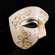 Phantom of the Opera - Silver Lining Venetian Masquerade Mask w/ Crackle Paints