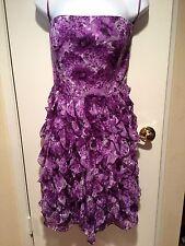 WHITE HOUSE BLACK MARKET Purple Ruffle Strap/Strapless Dress Size 10 NWT $180