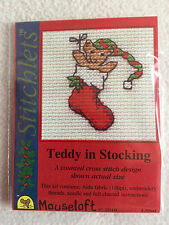 MOUSELOFT STITCHLETS CROSS STITCH KIT ~ TEDDY IN STOCKING ~ NEW