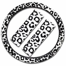 Zone Tech White Snow Leopard Steering Wheel Cover Shoulder SeatBelt Straps Pad